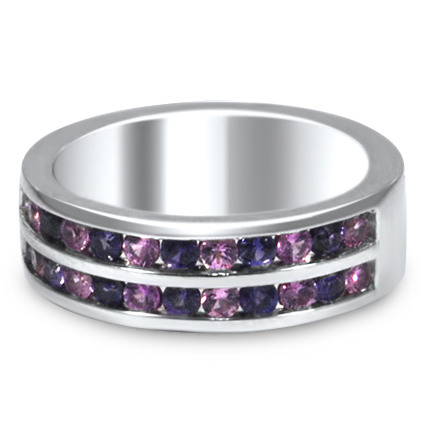 Custom Purple Sapphire Wedding Band