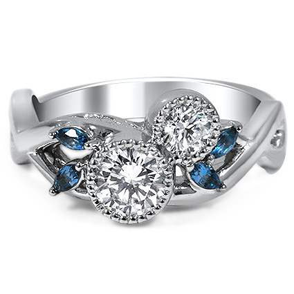 Diamond and Topaz Blossom Ring, top view