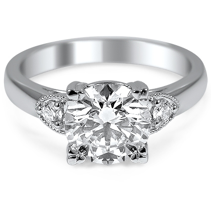 Diamond Ring with Triangular Accents, top view