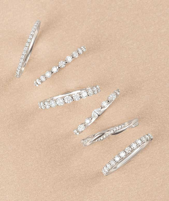 Stackable diamond rings with diamond details