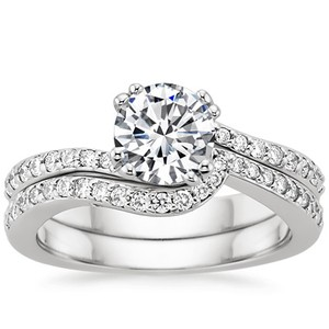 Platinum Seacrest with Diamond Accents Matched Set (1/3 ct.wt.), top view