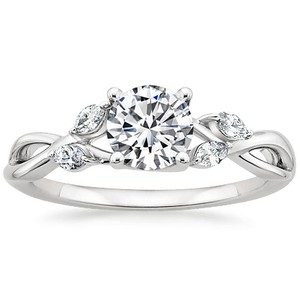 18K White Gold Willow Diamond Ring, top view
