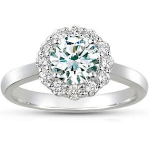 18K White Gold Lotus Flower Diamond Ring, top view