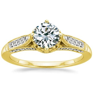 18K Yellow Gold Heirloom Diamond Ring (1/4 ct.tw.), top view