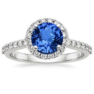 18K White Gold Sapphire Halo Diamond Ring with Side Stones (1/3 ct.tw.), top view