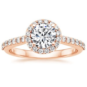 14K Rose Gold Halo Diamond Ring with Side Stones (1/3 ct.tw.), top view