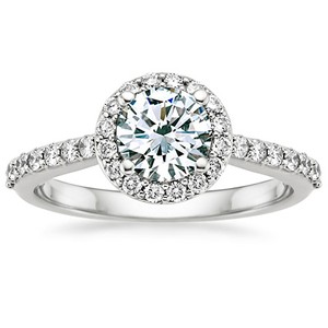 Platinum Halo Diamond Ring with Side Stones (1/3 ct.tw.), top view