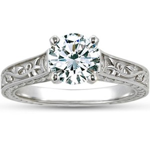 18K White Gold Jardinière Ring, top view