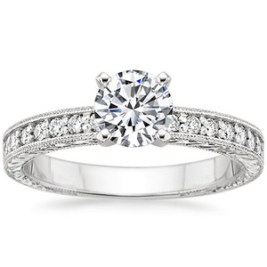 18K White Gold Engraved Pavé Milgrain Diamond Ring (1/4 ct.tw.), top view