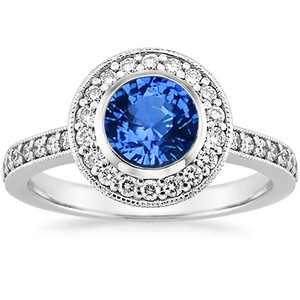 Platinum Sapphire Round Bezel Halo Diamond Ring with Side Stones, top view