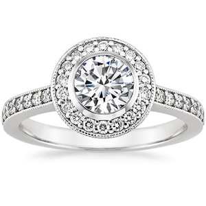 18K White Gold Round Bezel Halo Diamond Ring with Side Stones (1/3 ct.tw.), top view