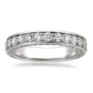 18K White Gold Luxe Antique Scroll Ring (3/4 ct.tw.), top view