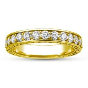 18K Yellow Gold Luxe Antique Scroll Ring (3/4 ct.tw.), top view