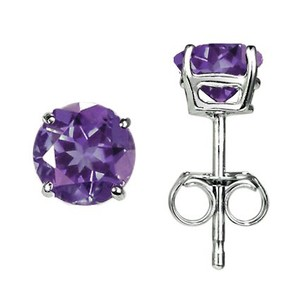 Silver Amethyst Stud Earrings (6mm)