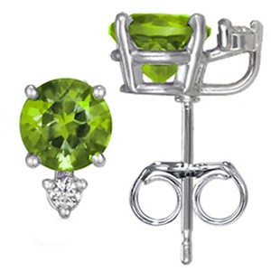 Silver Peridot and Diamond Stud Earrings (6mm)