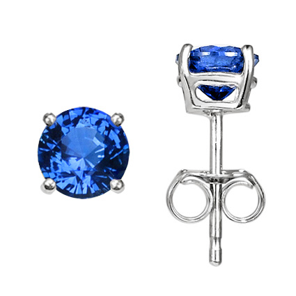 18K White Gold Sapphire Stud Earrings (5mm, 1.20 ct.tw.), large top view
