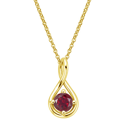 18K Yellow Gold Garnet Twist Pendant, large top view