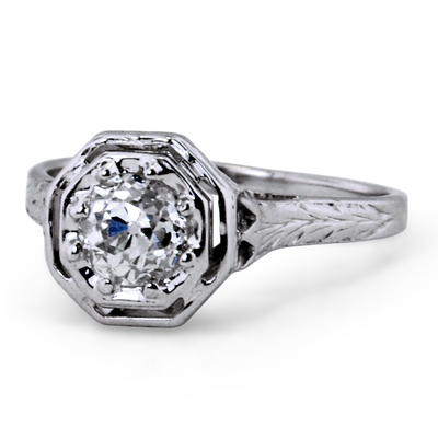 14K White Gold The Deandra Ring, large top view