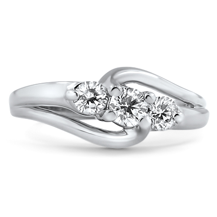 14K White Gold The Emlin Ring, large top view