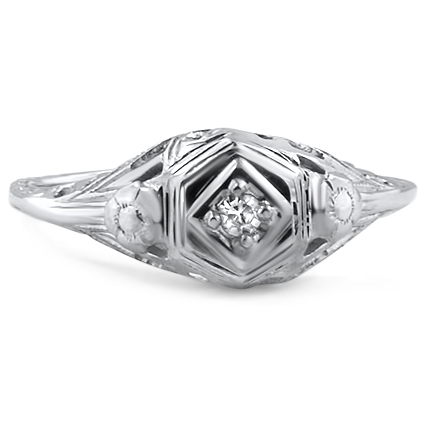18K White Gold The Jali Ring, large top view