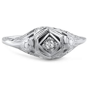 18K White Gold The Jali Ring, top view