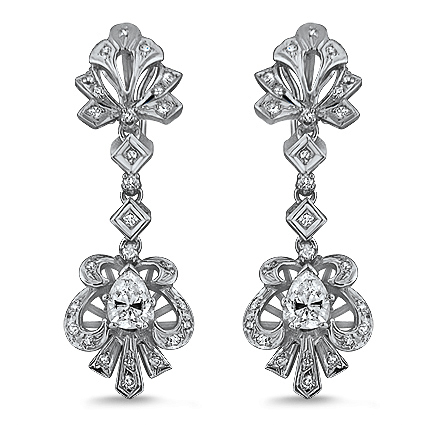 14K White Gold The Laney Earrings, top view