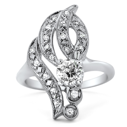 14K White Gold The Navaeh Ring, large top view