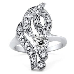 14K White Gold The Navaeh Ring, top view