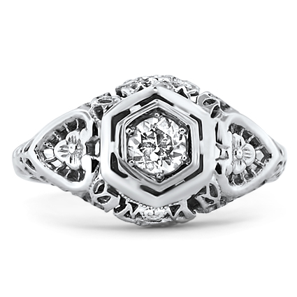 18K White Gold The Peggy Ring, large top view