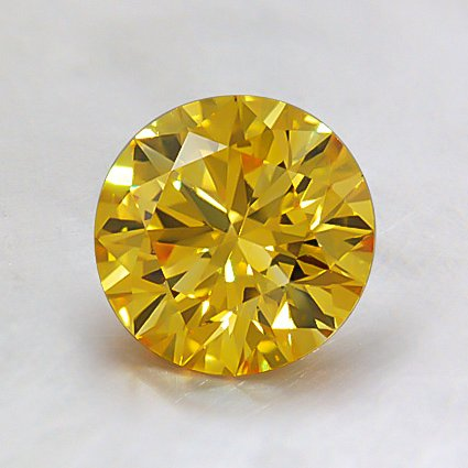 6.5mm Lab Created Fancy Yellow Round Diamond, top view
