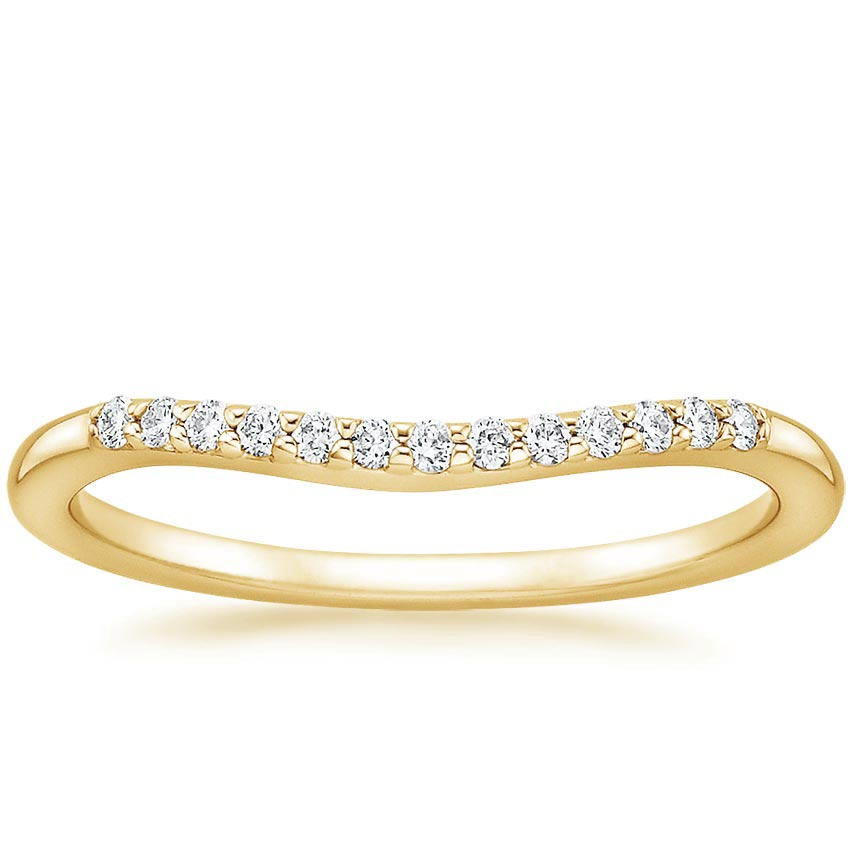 Yellow Gold Petite Curved Diamond Ring (1/10 ct. tw.)