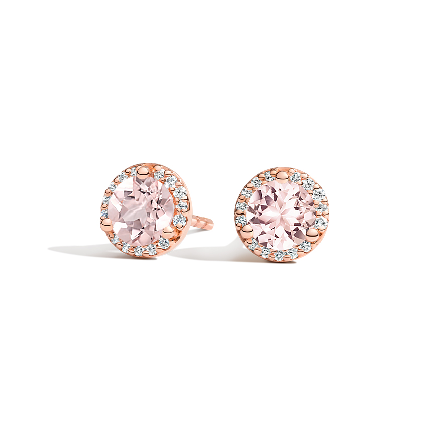 Morganite Halo Diamond Earrings in 14K Rose Gold