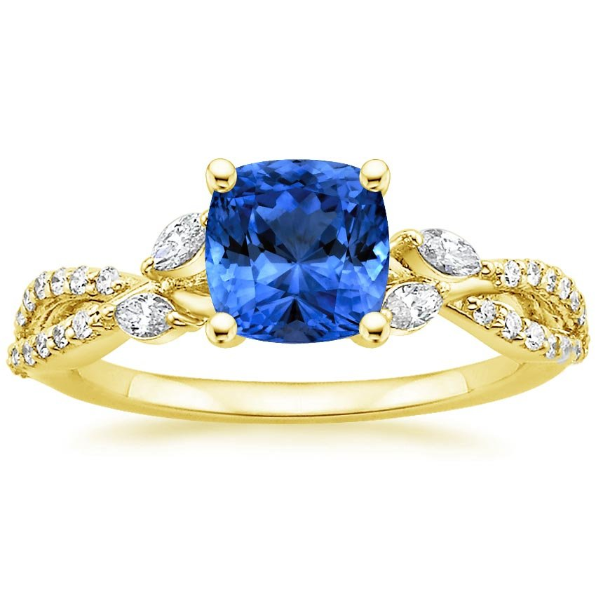 18K Yellow Gold Sapphire Luxe Willow Diamond Ring (1/3 ct. tw.), top view