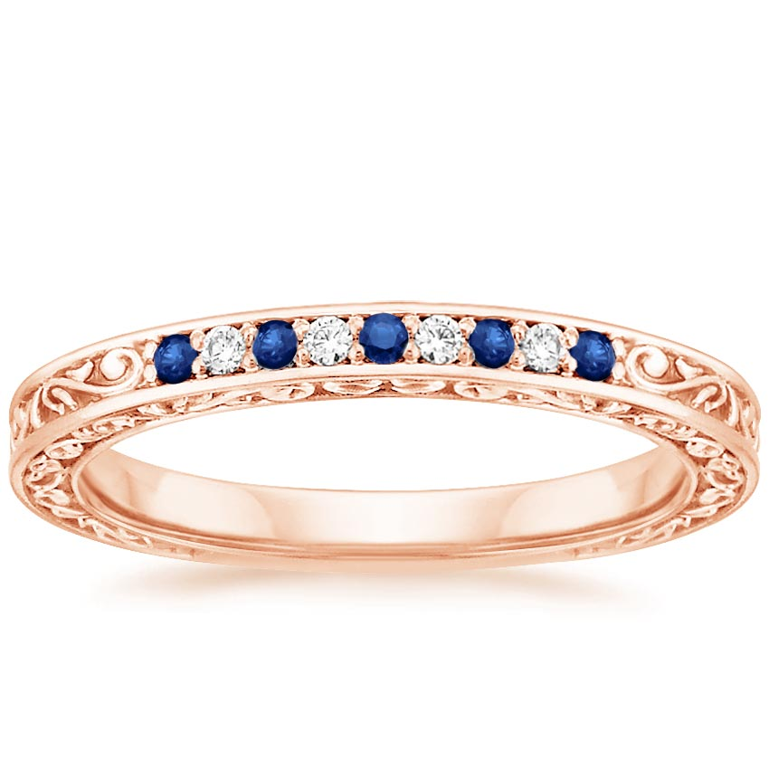 Rose Gold Delicate Antique Scroll Sapphire and Diamond Ring
