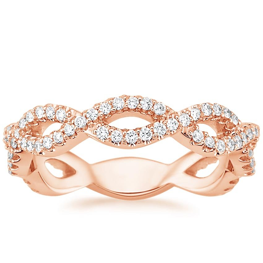14K Rose Gold Eternal Twist Diamond Ring, top view