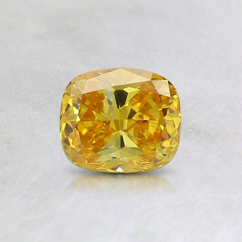 0.51 Ct. Fancy Vivid Orangy Yellow Cushion Lab Created Diamond