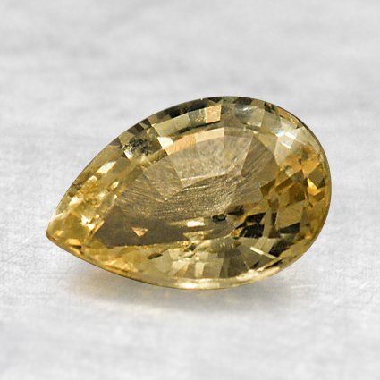 8x6mm Unheated Yellow Pear Sapphire, top view