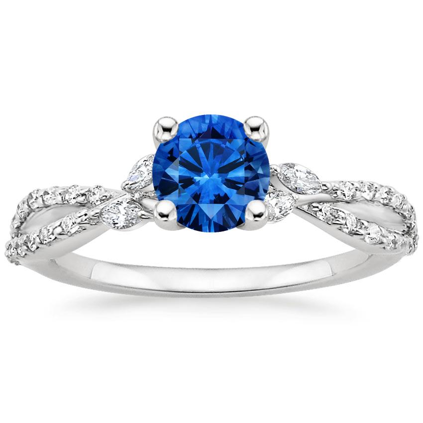 Sapphire Luxe Willow Diamond Ring (1/3 ct. tw.) in Platinum with 5.5mm Round Blue Sapphire