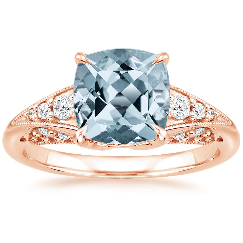 Rose Gold Aquamarine Serafina Diamond Ring (1/4 ct. tw.)
