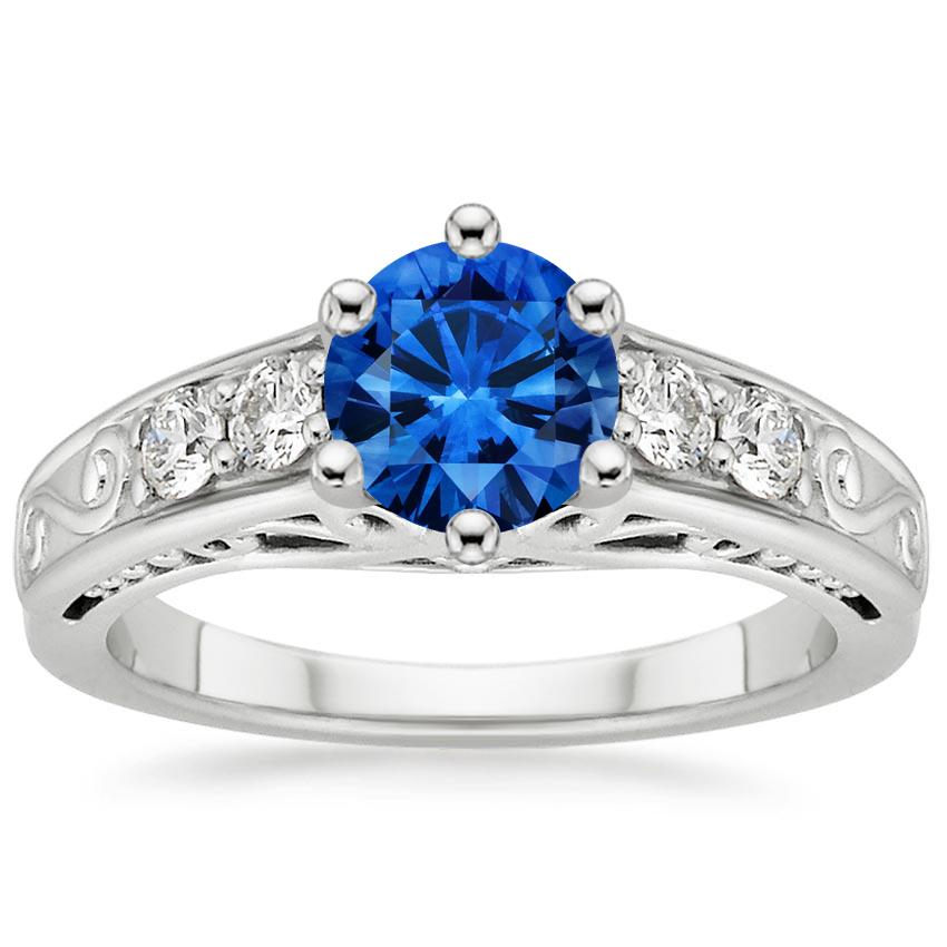 Platinum Sapphire Art Deco Filigree Diamond Ring (1/4 ct. tw.), top view