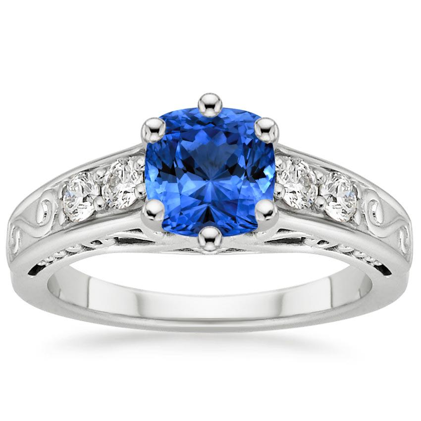 Sapphire Art Deco Filigree Diamond Ring (1/4 ct. tw.) in Platinum with 6x6mm Cushion Blue Sapphire