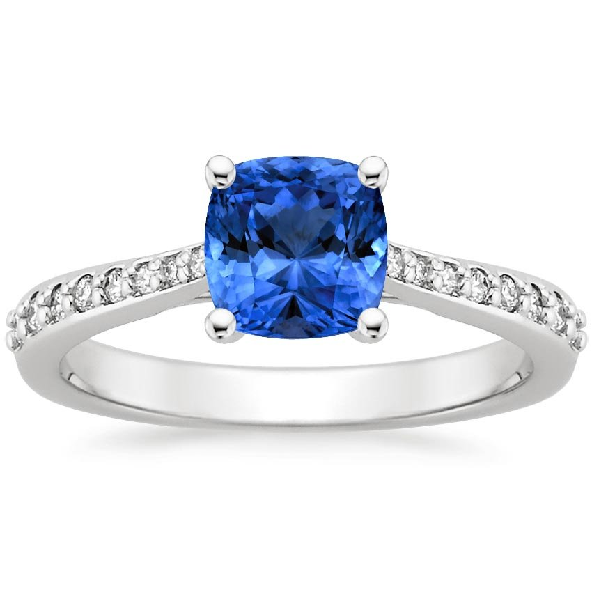 18K White Gold Sapphire Geneva Ring, top view