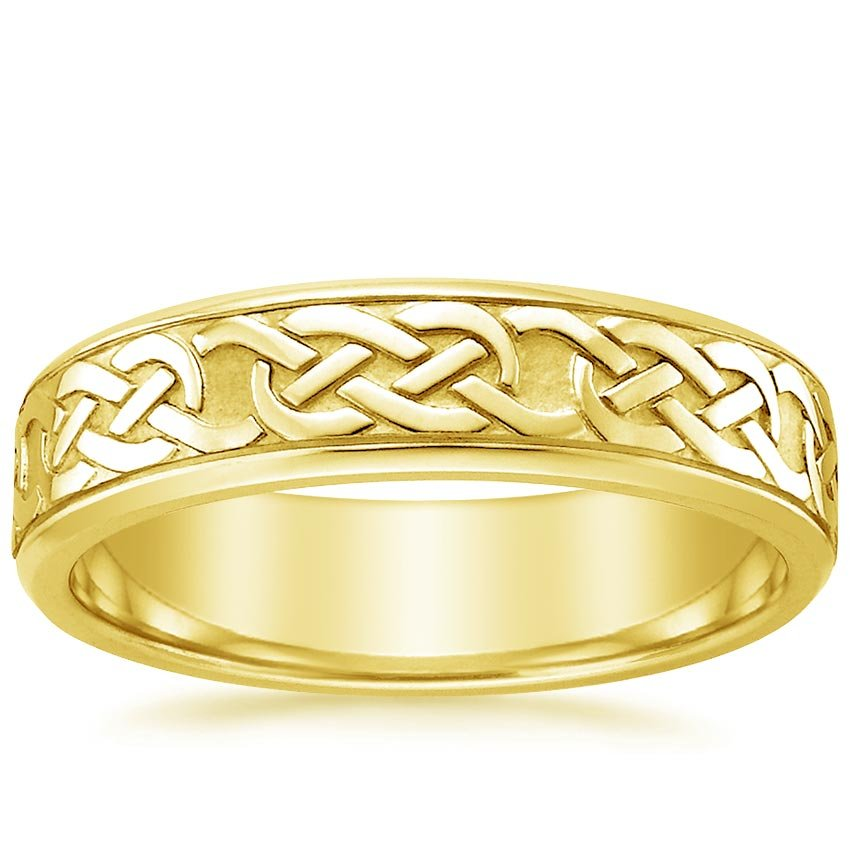 18K Yellow Gold Celtic Eternity Knot Ring, top view
