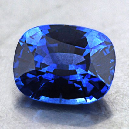 7.5x6mm Blue Cushion Sapphire, top view