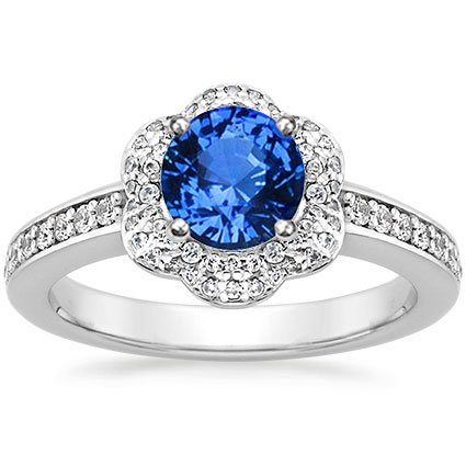 Platinum Sapphire Rosette Diamond Ring, top view