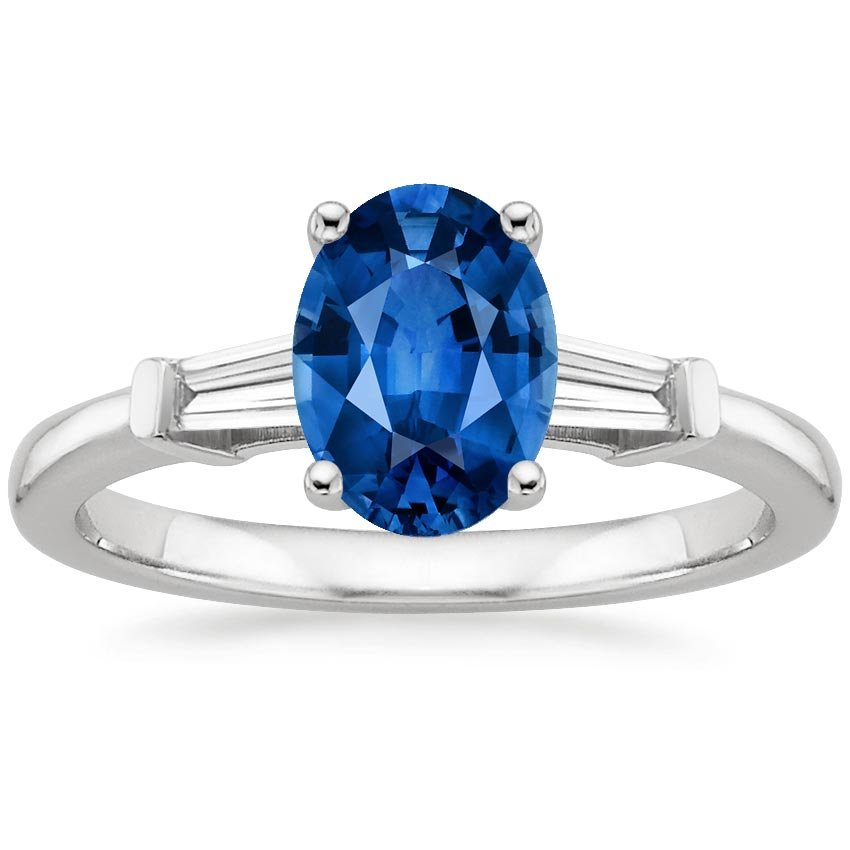 18K White Gold Sapphire Tapered Baguette Diamond Ring, top view