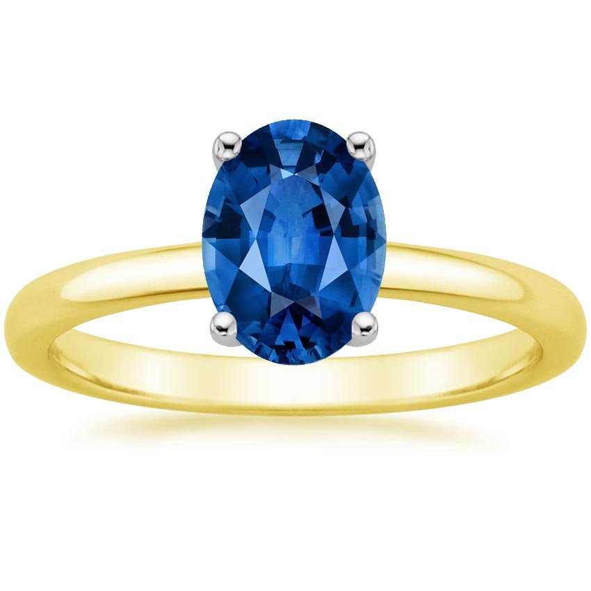 18K Yellow Gold Sapphire 2mm Comfort Fit Ring, top view
