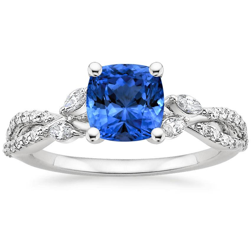 Platinum Sapphire Luxe Willow Diamond Ring (1/3 ct. tw.), top view