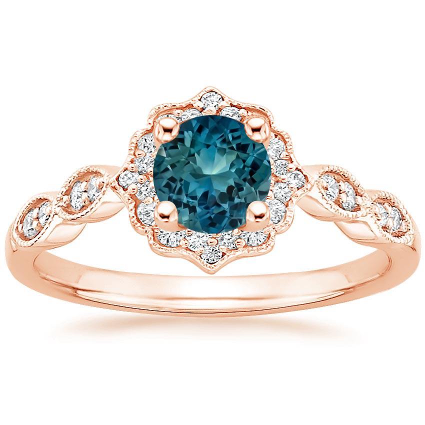 Sapphire Cadenza Halo Diamond Ring In 14k Rose Gold