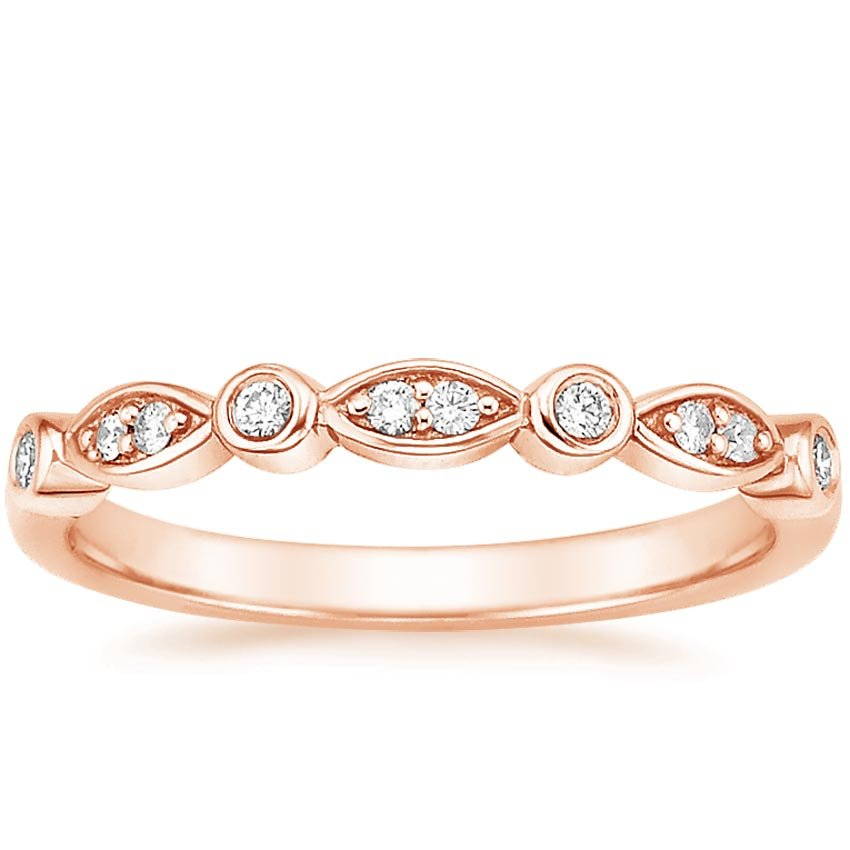 14K Rose Gold Coronet Diamond Ring, top view